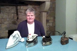 Rosemary Connolly with her collection of irons