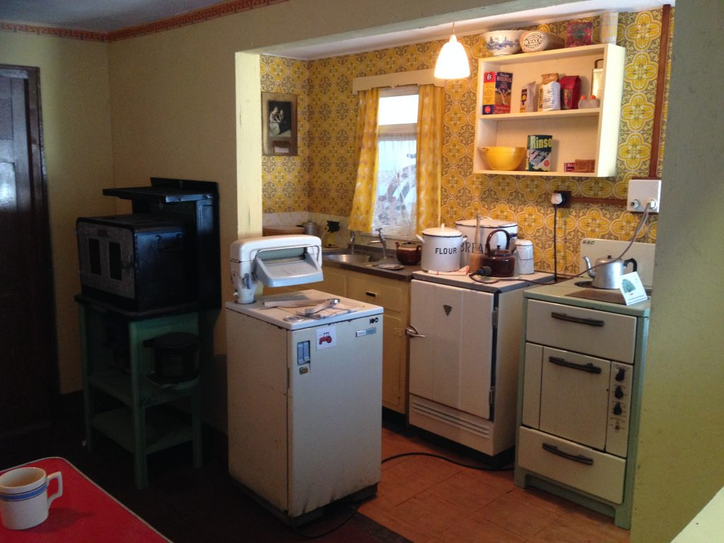 Mid-century Irish farmhouse kitchen reconstruction at the Irish Agricultural Museum