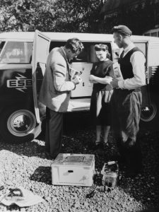 ESB staff demonstrating domestic appliances, Muintir na Tíre Rural Week, Mullingar, County Offaly, May 1954 (Courtesy of the ESB Archive)