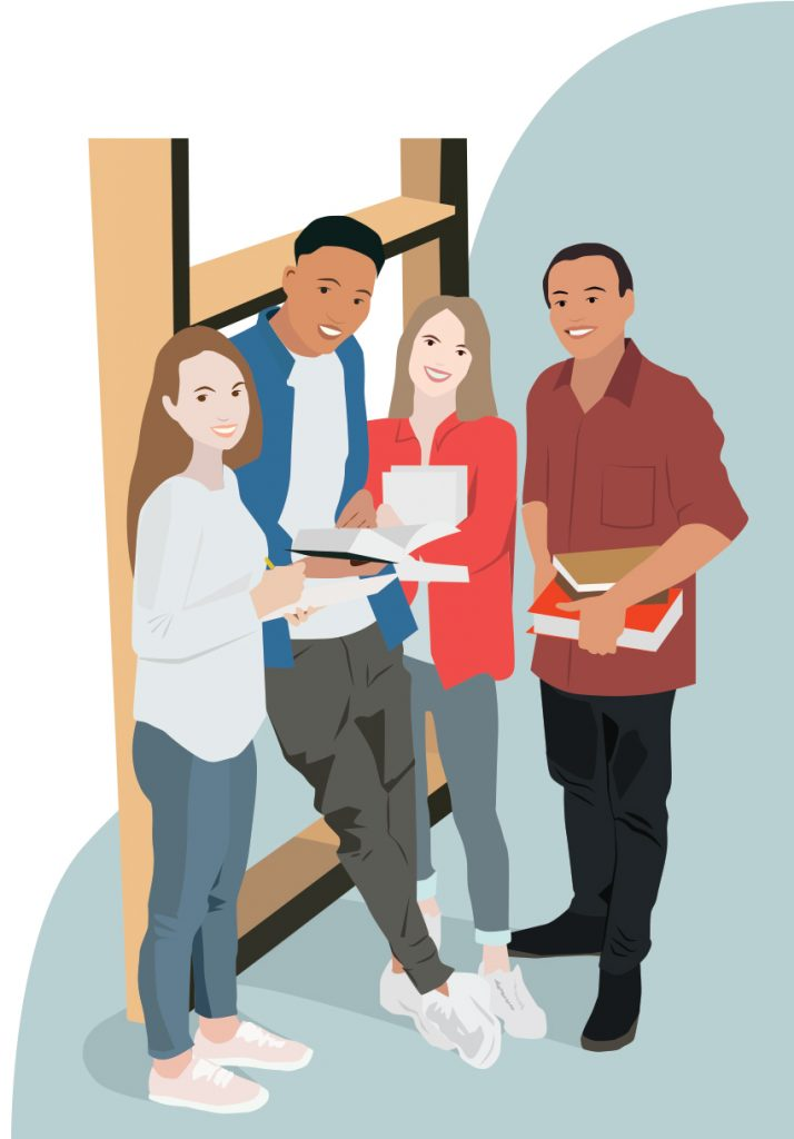 Graphic illustration of four college students with library books